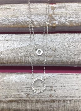 Italian Sterling Silver Round Pendant Two Layer Necklace