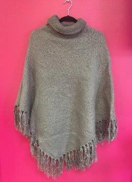 Gray Brushed Boucle Knit Poncho