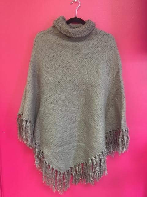 Gray Brushed Boucle Knit Poncho