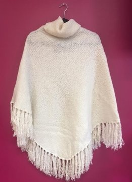 Ivory Brushed Boucle Knit Poncho