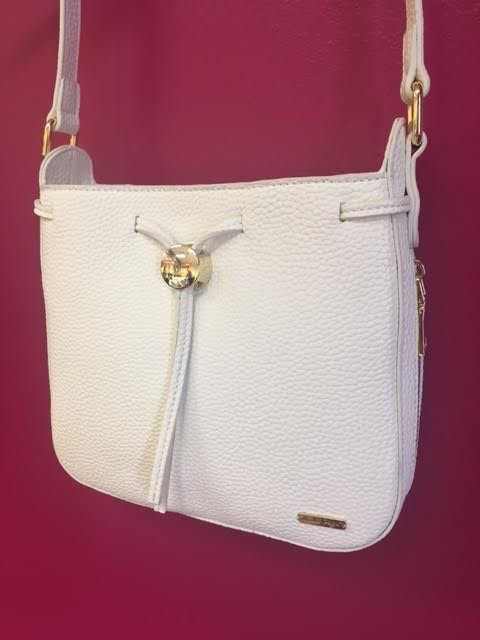 Cream Cross Body Bag with Attached Coin Purse