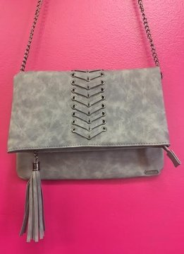 Whip Stitch Cross Body Clutch Gray