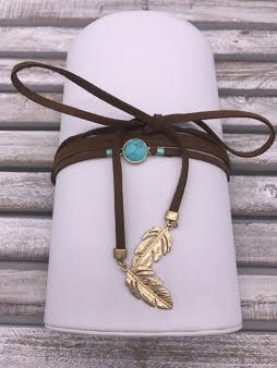 Brown Leather Choker with Turquoise