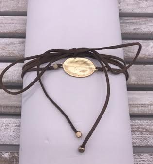 Brown Leather Choker Gold Oval