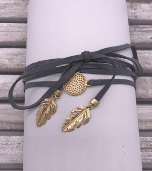 Gray Leather Choker with Gold Feathers