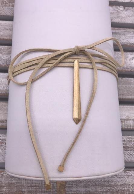 Tan Leather Choker with Gold Bar