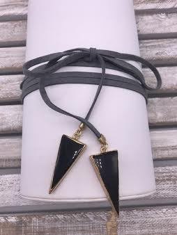 Gray Leather Choker with Black Triangles