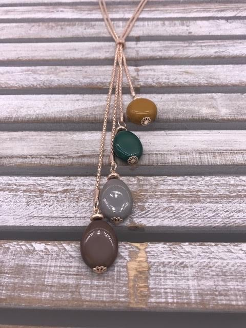 Gold Dangle Necklace with Green and Gray Beads