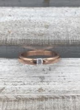 Stainless Steel Rose Gold Ring with Clear Stone