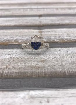 Sterling Silver Claddagh Ring with Blue Pave Cubic Zirconia