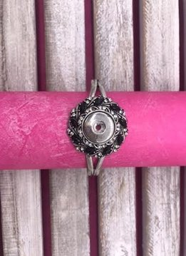 Silver Snap Cuff Bracelet with Black Rhinestones