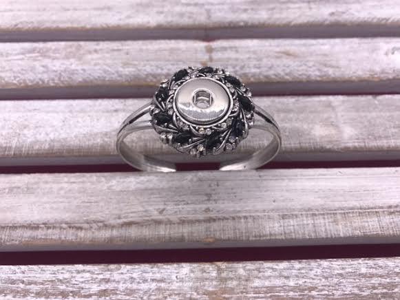 Silver Snap Cuff Bracelet with Black Rhinestones