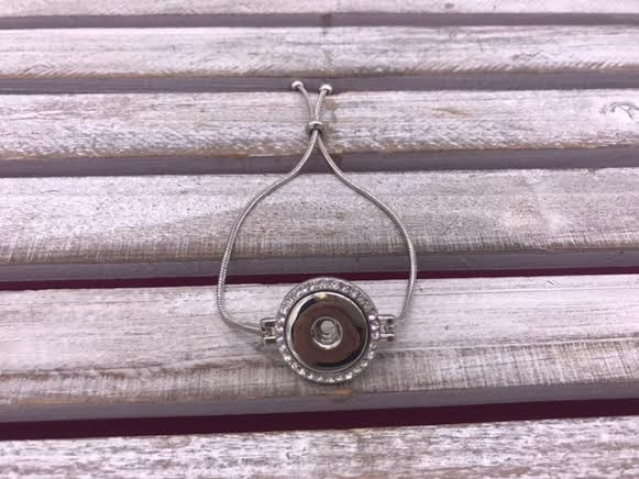 Silver Adjustable Snap Bracelet with Rhinestones