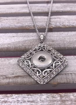 Silver Diamond Snap Necklace with Rhinestones
