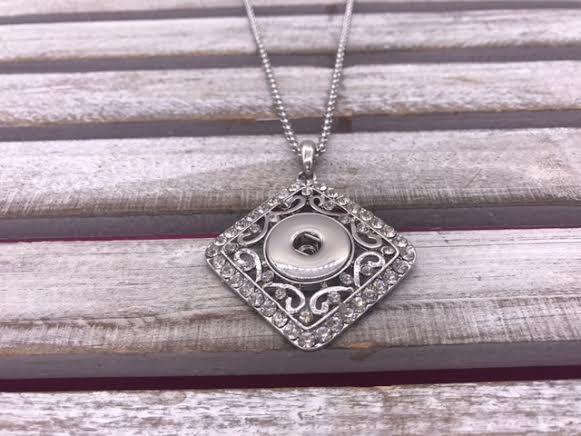 Silver Diamond Snap Necklace with Rhinestones