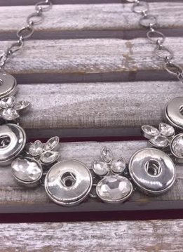 Elegant Snap Bib Necklace with Clear Rhinestones