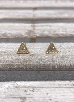 Stainless Steel Cubic Zirconia Gold Pave Triangle Earrings