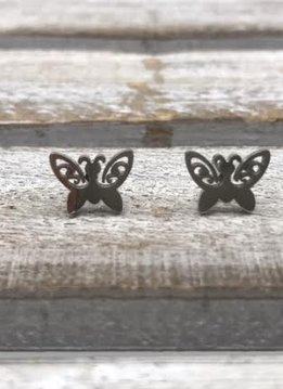 Stainless Steel Silver Butterfly Earring