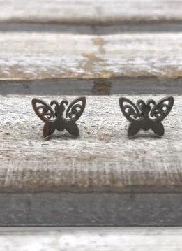 Stainless Steel Silver Butterfly Earring