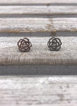 Stainless Steel Silver Rose Blossom Earrings