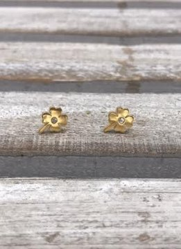 Stainless Steel Gold Shamrock Earring