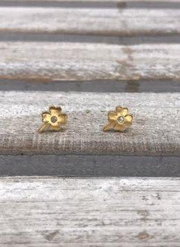Stainless Steel Gold Shamrock Earring
