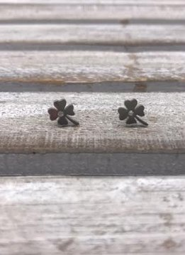 Stainless Steel Silver Shamrock Earring
