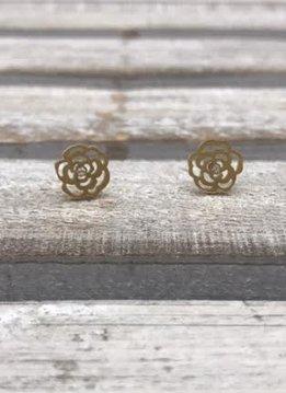 Stainless Steel Gold Rose Blossom Earrings