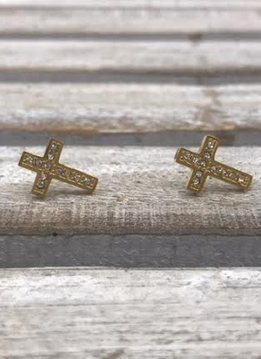 Stainless Steel Gold Cross Earrings with Cubic Zirconia