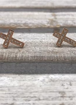 Stainless Steel Rose Gold Cross Earrings with Cubic Zirconia