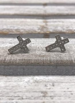 Stainless Steel Silver Cross Earrings with Cubic Zirconia