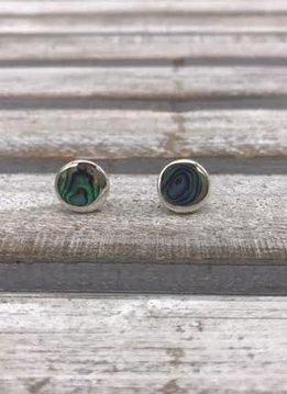 Sterling Silver Abalone Shell Round Earrings
