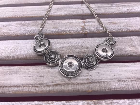 Silver Spiral Snap Bib Necklace