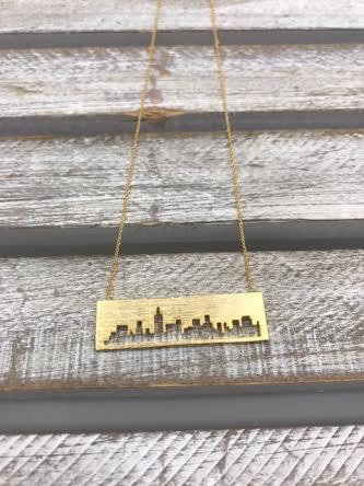 Gold Chicago Cityscape Pendant Necklace
