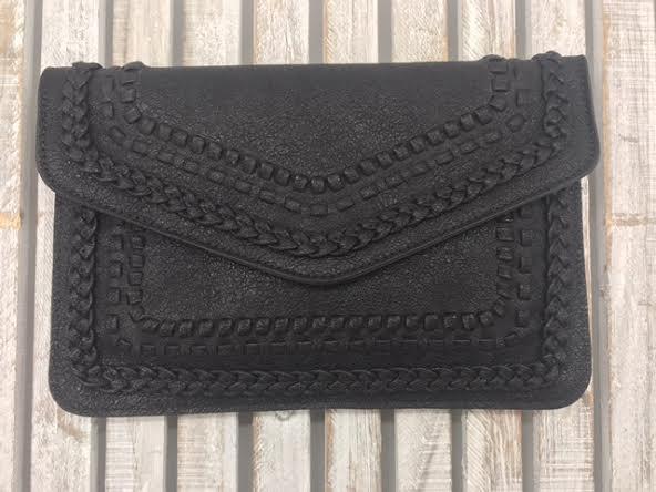 Black Embroidered Clutch Purse