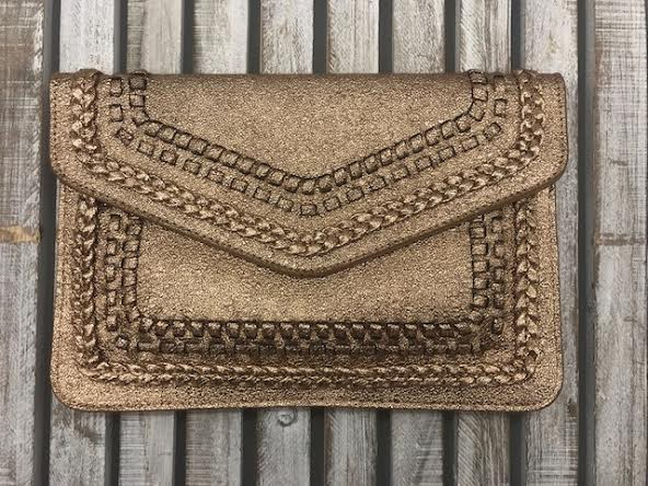 Gold Embroidered Clutch Purse