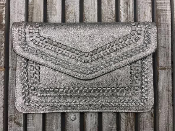Silver Embroidered Purse Clutch