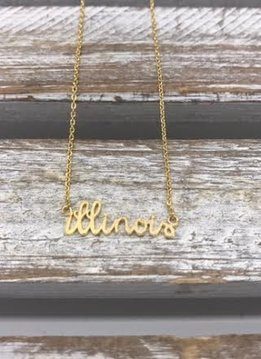 Gold Illinois Script Necklace