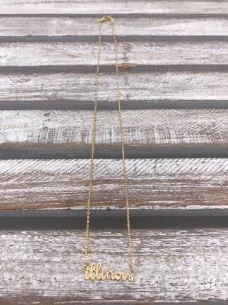 Gold Illinois Script Necklace