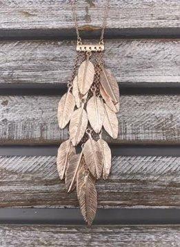Rose Gold Dangling Leaf Charm Pendant Necklace