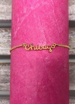 Gold Chicago Text Adjustable Bracelet