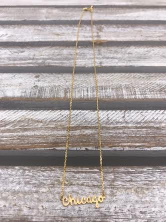 Gold Chicago Script Necklace