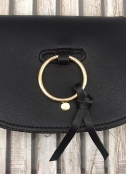 Ring Accent Classy Flap Crossbody Bag in Black