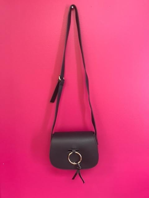 Ring Accent Classy Flap Crossbody Bag in Black