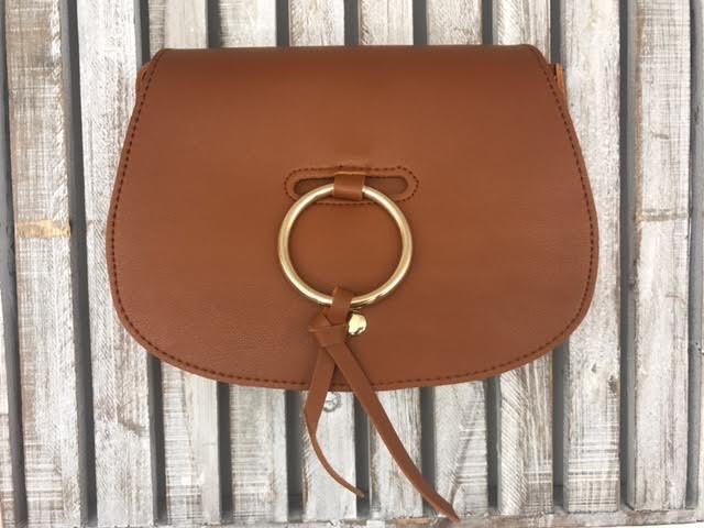 Ring Accent Classy Flap Crossbody in Camel