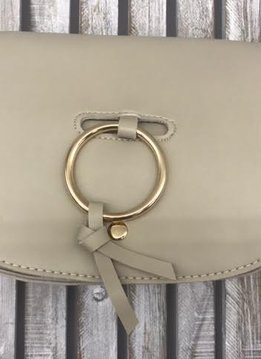 Ring Accent Classy Flap Crossbody Bag in Beige