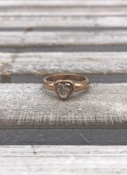Stainless Steel Rose Gold Bezel Heart Ring