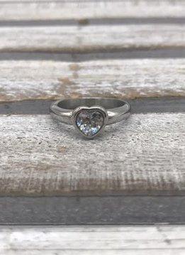 Stainless Steel Silver Bezel Heart Ring