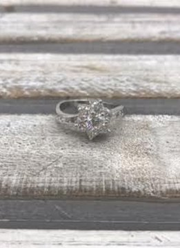 Sterling Silver Ring with Cubic Zirconia Flower Design