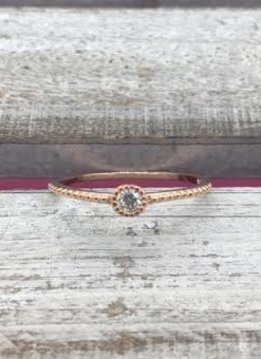 Sterling Silver Rose Gold Ring with Simple Cubic Zirconia Stones